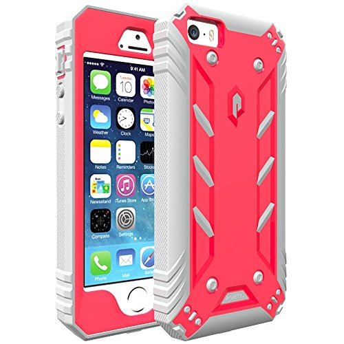 iPhone SE Case, iPhone 5S Case, iPhone 5 Case, POETIC Revolution [Premium Rugged][Shock Absorption & Dust Resistant] Protective Case w/Built-in Screen Protector for Apple iPhone SE Pink/Gray (Pink Screen Protector 5s)
