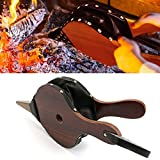 Fireplace Bellows Wood Air Blower Leather Fire Bellow Cast Nozzle with Hanging Leather Strap for Outdoor Camping Barbeque