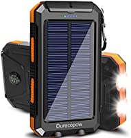 Solar Charger, Durecopow 20000mAh Portable Outdoor Waterproof Solar Power Bank, Camping External Backup Battery Pack Dual...