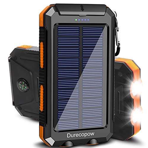 Solar Charger, Durecopow 20000mAh Portable Outdoor Waterproof Solar Power Bank, Camping External Backup Battery Pack Dual 5V USB Ports Output, 2 Led Light Flashlight with Compass