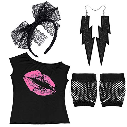 Womens 80's Pink Lips Print Off Shoulder T-Shirt Lace Headband Neon Earrings Fingerless Fishnet Gloves for 80's Party, BK-M ()