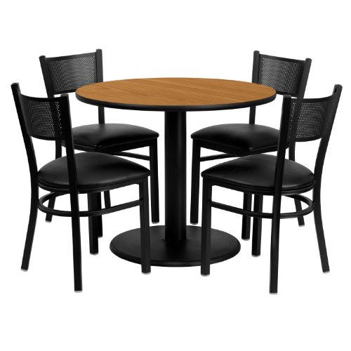 (36'' Round Natural Laminate Table Set with 4 Grid Back Metal Chairs - Black Vinyl Seat)