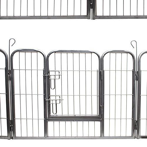 Paws & Pals Pet Exercise Pen Tube Gate w/ Door - (8 Panel Playpen) Heavy Duty Folding Metal Out-Door Fence - 32'' Playpen by Paws & Pals (Image #3)