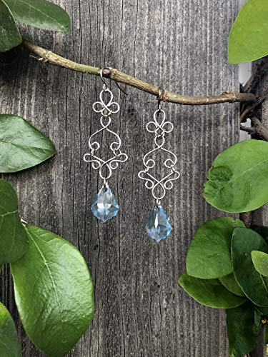 Stainless Steel Silver Long Boho Swarovski Charm Dangle Earrings with Blue Swarovski Baroque Chandelier Beads
