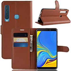 Samsung Galaxy a9 2018 Business Wallet Card Slots Kickstand Phone Case Cover - Brown