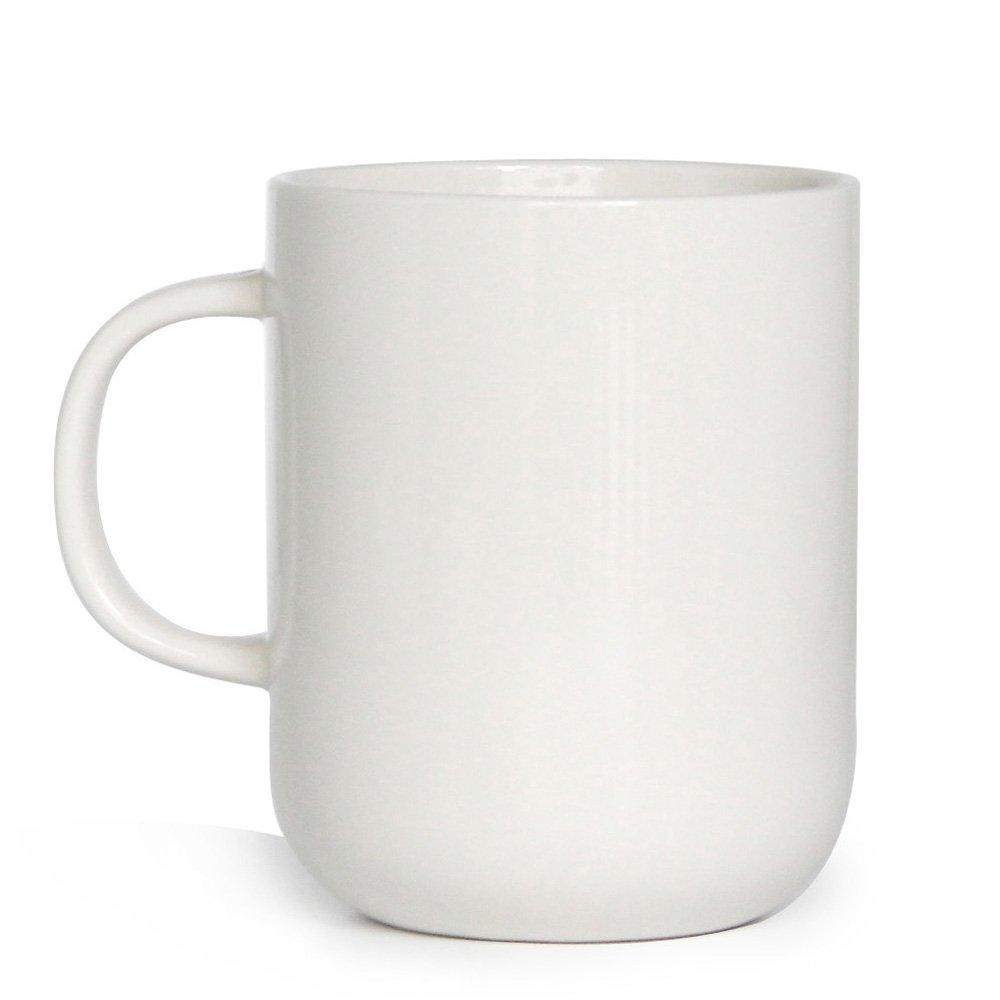 15 oz Porcelain Coffee Mug, Smilatte M008 Novelty Blank Ceramic Cup for Tea, Cocoa, White