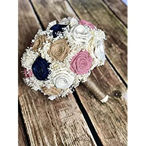 Blush, Navy, Natural, & Ivory Bridal Bouquet(choose size) Pictured is a 23 Flower Bridal : Burlap Bridal Bouquet, Burlap Bouquets, Burlap Wedding Bouquets, Burgundy Bouquets, Rustic Bouquets 28