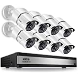 ZOSI 720p HD-TVI Home Surveillance System,16 Channel Hybrid DVR Recorder and (8) 1280TVL 720p Indoor/Outdoor Bullet Security Camera with 100ft Night Vision, Motion Detection (No Hard Drive Included)