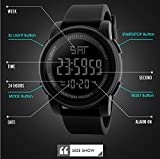 Multifunction Neutral Compass Sport Watch, Farsler 50M Waterproof World Time Men's Electronic Watch, Alarm Clock Countdown Luminous Digital Sports Watch For Women Boys (Black)