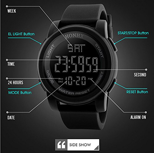 World Time Digital Alarm Chronograph - Multifunction Neutral Compass Sport Watch, Farsler 50M Waterproof World Time Men's Electronic Watch, Alarm Clock Countdown Luminous Digital Sports Watch For Women Boys (Black)