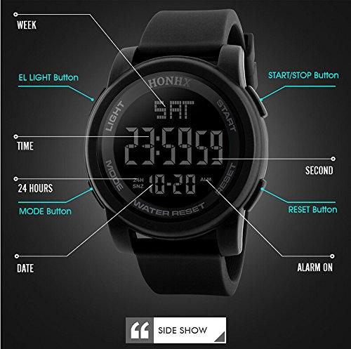 World Time Gents Watch - Multifunction Neutral Compass Sport Watch, Farsler 50M Waterproof World Time Men's Electronic Watch, Alarm Clock Countdown Luminous Digital Sports Watch For Women Boys (Black)