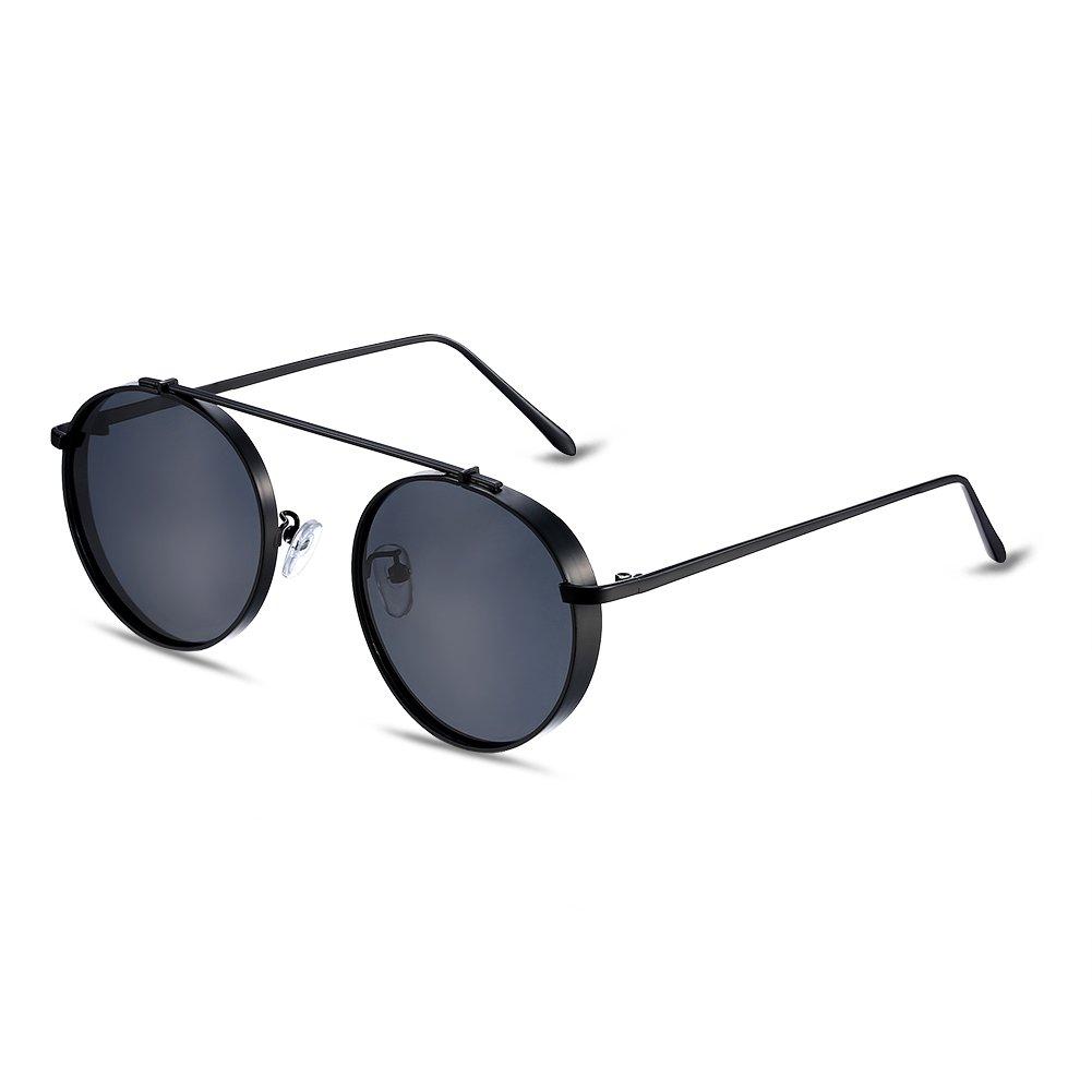NYKKOLA Retro polarizadas espejo redondo lentes marco de metal moda mujeres gafas de sol UV400, blac...