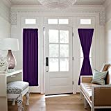 Blackout Sliding Door Curtain Long - Window Covering Blackout Curtain and Drapery for Entry Door/ Side Lights Front Doors by NICETOWN (One Piece, W25 x L72-Inch, Royal Purple)