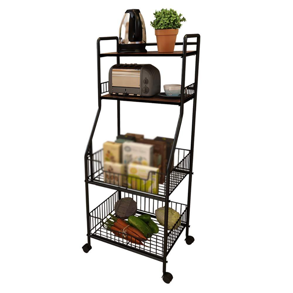 Kitchen Rack Storage Rack, Floor Multi-Layer Vegetable Seasoning Bowl Pot Storage Shelf, Multi-Function Caster(4234.5114cm) by Kitchen Cart (Image #4)