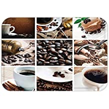 Minicoso Doormat Kitchen Collage of Coffee and Products Beans Deserts Ice Cream Cinnamon Hot Drink Dark and Light Brown