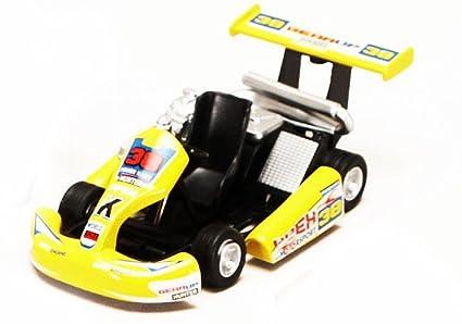 """Turbo Go Kart #38, Yellow - Kinsmart 5102D - 5"""" Diecast Model Toy"""
