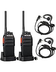 Retevis RT24 Plus Walkie Talkies PMR446 sin Licencia 16 Canales Alcance de hasta 3 KM Cargador USB Universal Walkies Profesionales con Auriculars(Negro,1 Par)