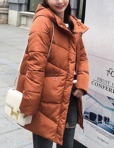 con ropa Abrigo capucha las acolchado Caramelo engrosada largo Abrigo Mujeres medio algodón invierno estilo para de 7wOq7RS