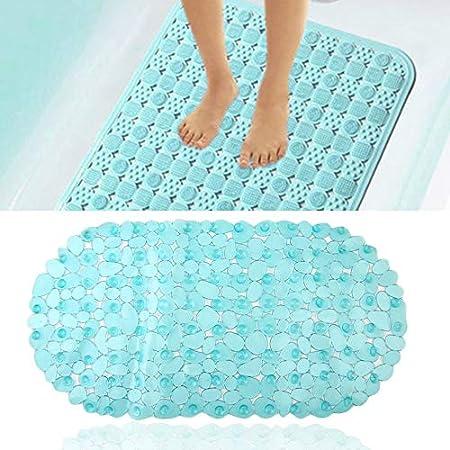 Blue liekikas Unique Safety Anti Non Slip Pebble Bath Shower Suction Toilet Floor Plastic Mat