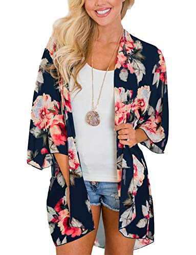 (Women's Beach Cover Up Open Front Floral Chiffon Summer Swimwear Thin Cardigan Blouse Tops(Deep Blue, 2XL))