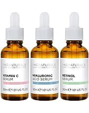 PraNaturals Skin Perfector Face Serums Kit 3x30ml, Hyaluronzuur, Retinol & Vitamine C, Huidverzorging Tegen Veroudering, Verwijdert Fijne Lijntjes en Rimpels, Verrijkt met natuurlijke oliën