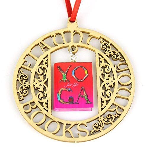 YOGA FOR LIFE Meditation & Exercise Clay Mini Book FRAMED Home Decor Ornament by Book Beads