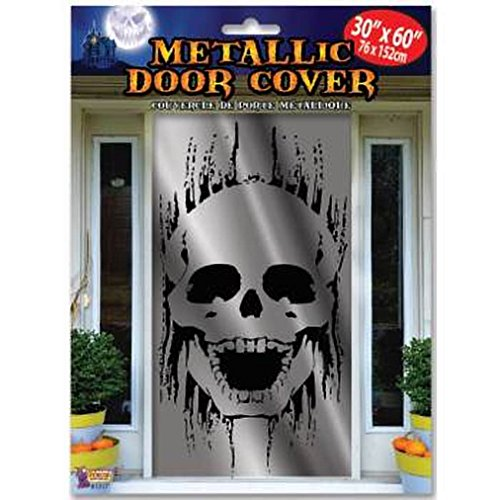 Forum Novelties 81317 Metallic Skull Door Cover, White/Black (Pack of 12)]()
