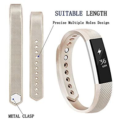 Tobfit Fitbit Alta HR Bands for Women and Men, Smooth silicone Rose Gold and Gold Classic Fitbit Alta Watch Accessories Wristbands with Metal Clasp for Fitbit Alta HR and Alta (#Alta(8 Count), Large)