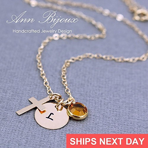 Delicate Initial Disc Necklace Dainty Cross Charm And Birthstone Gold Filled Initial Jewelry Personalized Gift For Woman