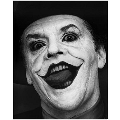 Jack Nicholson 8 x 10 Photo Batman as The Joker Black & White Pic Headshot Mouth Open Really Creepy - Mens Black Pics