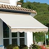 XtremepowerUS Patio Manual Retractable Sun Shade Awning - Tan (12' x 10')