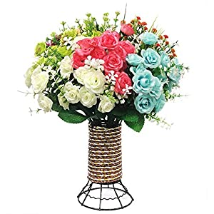 Yomais Artificial Flowers, 8 Bundles Fake Flowers Bouquet with Vase Lifelike Natural Flower Arrangements for Home Garden Party Wedding Office Decoration (8 Pack with Cylinder Shape Vase) 1