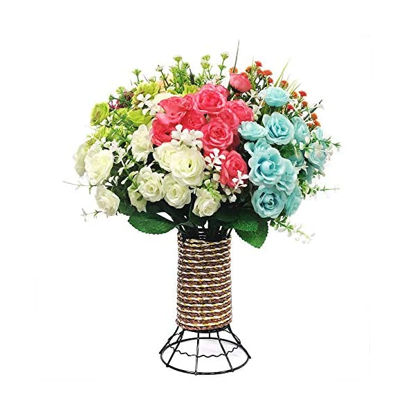 Yomais-Artificial-Flowers-8-Bundles-Fake-Flowers-Bouquet-with-Vase-Lifelike-Natural-Flower-Arrangements-for-Home-Garden-Party-Wedding-Office-Decoration-8-Pack-with-Cylinder-Shape-Vase