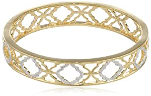 """Bronze and 18k Yellow Gold Plated Two-Tone Textured Bangle Bracelet, 8"""""""