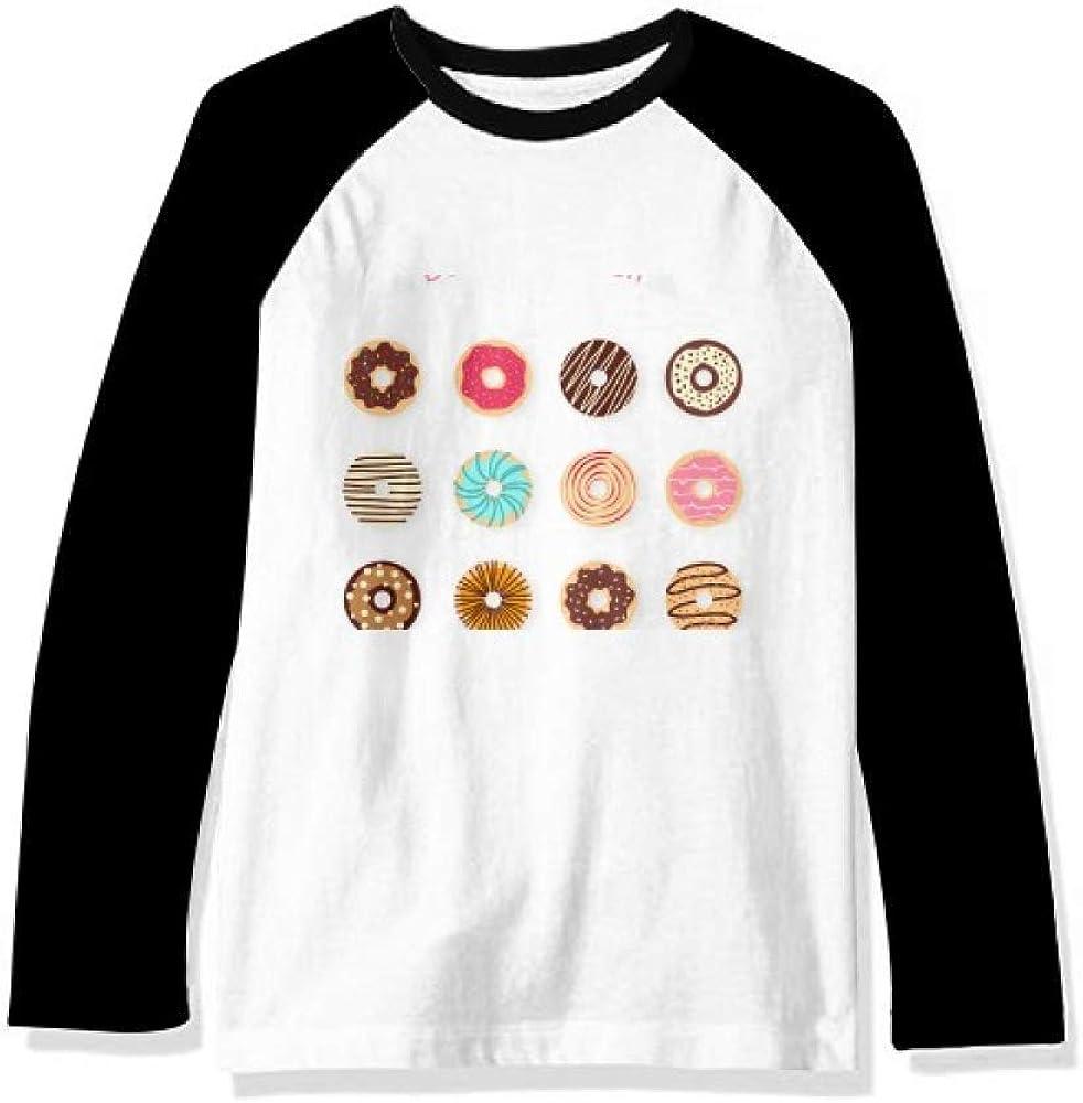 DIYthinker Doughnut Group Dessert Sweet Food Pattern Long Sleeve Top Raglan T-Shirt Cloth