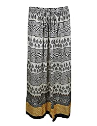 Mogul Womans Long Skirt Printed Black A-Line Bohemian Gothic Maxi Skirts