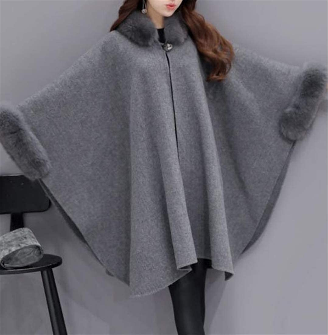 18c3aa571d7eb Amazon.com  Lutratocro Women Dolman Sleeve Woolen Outdoors Faux Fur Poncho  Wraps Autumn Winter Pea Coat  Clothing
