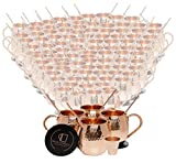 Set of 100 Pure Copper Moscow Mule Mugs by Mule Science with BONUS: Highest Quality Cocktail Copper 100 Straws, 2 Shot glasses and 100 coasters!