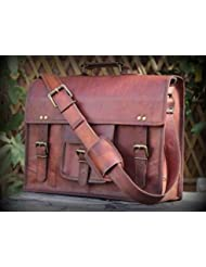 handolederco. Vintage Leather Laptop Bag 15 Messenger Handmade Briefcase Crossbody Shoulder Bag