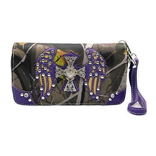 La Dearchuu Western Wallets for Women Cross Wing Western Wristlet Wallet Studded Purse