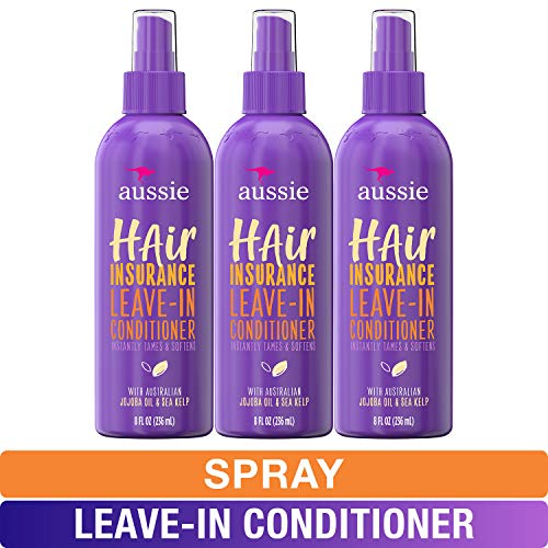 Aussie Leave In Conditioner Spray, with Jojoba & Sea Kelp, Hair Insurance, 8 fl oz, Triple Pack (Best Dry Conditioner Spray)