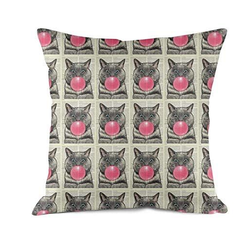 furngrtiture Decorative Square Bubblegum CAT Dictionary Art Pillow