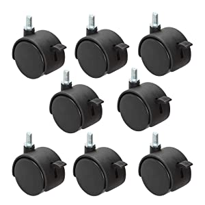 8 Pack Plastic Castor Replacement Wheel for Furniture, 1.5 Inch Diameter Black Small Threaded Caster Cabinet Wheel Office Furniture Desk Floor Swivel Plate Screw in Caster, 5/16