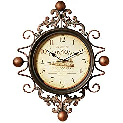 astill Wall Clock Retro clock,Large Decorative Wall Art Non-ticking Quartz Clock Unique for Family Living Room ,Battery Operated,Easy to Read for,Indoor Decor