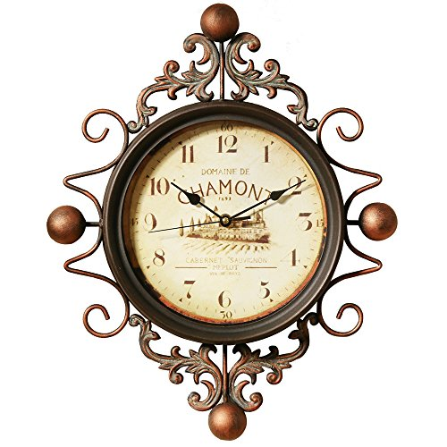 - astill Wall Clock Retro clock,Large Decorative Wall Art Non-ticking Quartz Clock Unique for Family Living Room ,Battery Operated,Easy to Read for,Indoor Decor