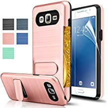 Galaxy J2 Prime Case,Galaxy Grand Prime Plus Case With HD Screen Protector,AnoKe[Card Slots Holder][Not Wallet]Kickstand Plastic TPU Hybrid Shockproof For Samsung Galaxy J2 Prime KC1 Rose Gold