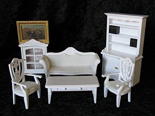 Wohnzimmer Arbeitszimmer weiss 7 Teile Puppenhausmöbel Miniaturen 1:12