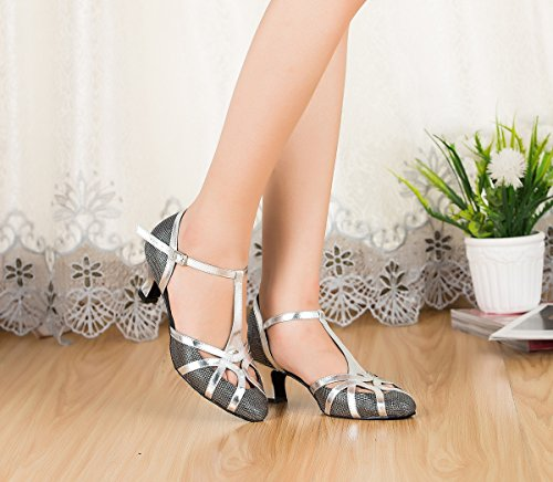 Miyoopark Womens T-strap Close Toe Glitter Salsa Latin Dancing Shoes Sparkle Wedding Pumps Black-5cm Heel Oml9hnG