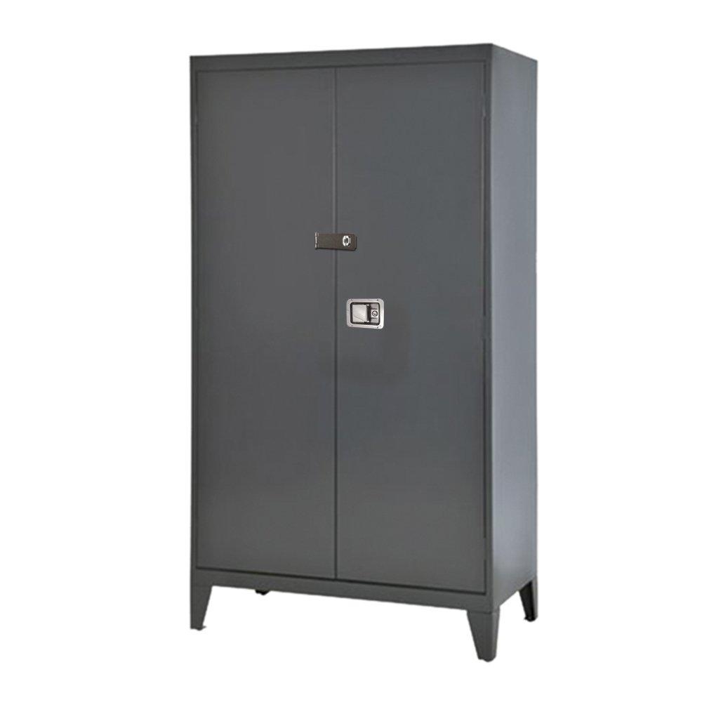 Sandusky Lee XA4D462472-02LH Charcoal 16 Gauge Steel Extra Heavy Duty Storage Cabinet, 600 lb. Per Shelf Capacity, 4 Shelves, 79'' Height x 46'' Width x 24'' Depth