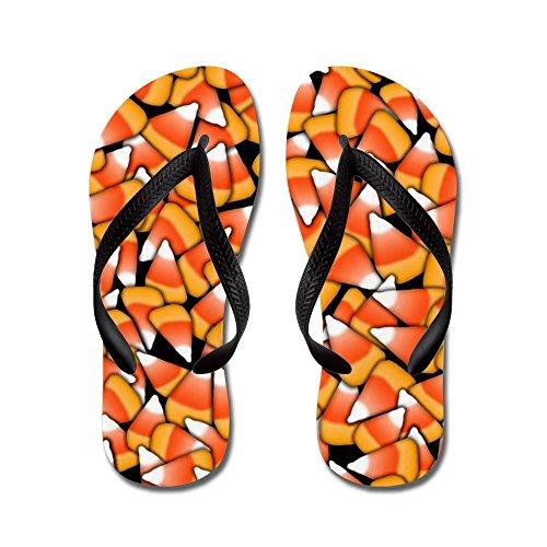 CafePress Candy Corn Pattern - Flip Flops, Funny Thong Sandals, Beach Sandals Black